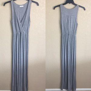 Lush XS Maxi Gray Grey Jersey Summer Dress E24